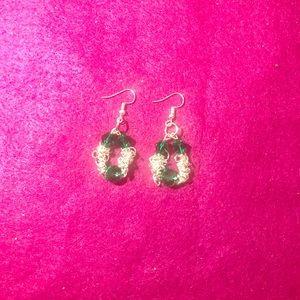 Green chain earrings